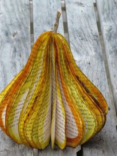 I just love these books cut into shapes.  I've seen apples and pumpkins and now this wonderful pear.