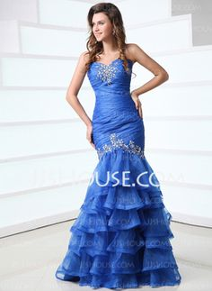 Mermaid Sweetheart Floor-Length Organza Satin Prom Dresses With Ruffle Beading Prom?