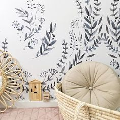 New wallpaper crush.... this is our boho monochrome wallpaper, available on our website, link in bio ⬆️. Beautiful styling and 📷 @teaching.talan. Can't wait to see the full room reveal @teaching.talan xo