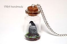 Please give us days to make this necklace!This is a terrarium necklace with a RIP tombstone and tiny black raven!All the details in mini glass bottle made of polymer clay by hand.Glass bottle size: x length: read our policies before purchasing an item :) Bottle Charms, Bottle Necklace, Clay Charms, Mini Glass Bottles, Glass Jars, Polymer Clay Miniatures, Polymer Clay Jewelry, Biscuit, Rip Tombstone