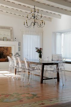 Ghost chairs with rustic dining table Ghost Chairs Dining, Dining Table, Trestle Tables, Dining Rooms, Gold Desk Chair, Sweet Home, Ivy House, Contemporary Dining Chairs, Minimalist Decor