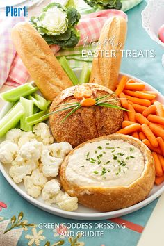 Children will love this dipping into this fun bunny crudite platter. Just don't tell the kids it's good for them! Click the picture to get the recipe and more Easter inspiration from Pier 1.