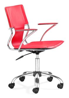 Zuo Modern Trafico Office Chair Trafico Office Chair Red Furniture Seating Office Chairs