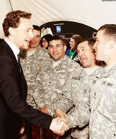 Tom Hiddleston meeting the chapsJust take a moment to look at each of the soldiers faces....#tomhiddleston