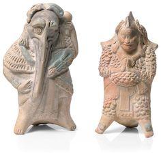 Two Maya Standing Dignitaries, Jaina, Late Classic, ca. A.D. 600-900