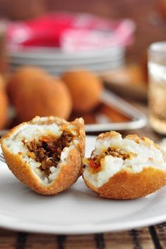 Cuban papa rellenas   Stuffed potato balls with ground beef cooked with sofrito.