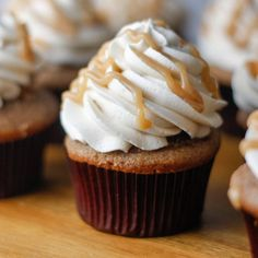 Apple pie spiced cupcakes with cinnamon apple filling and topped with a salted caramel buttercream frosting. And more salted caramel.