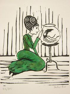 Original linocut print a lady and her pet squid by nothingtralala, £23.00