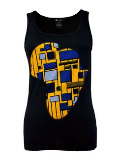 Ginika Women's Africa Tank Top (Yellow/Blue/Black)