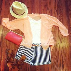 Peach blouse + navy & white striped shorts