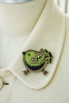 Little green bird brooch by woolly  fabulous, via Flickr