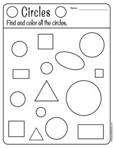 Free printable shapes worksheets for toddlers and preschoolers. Preschool shapes activities such as find and color, tracing shapes and shapes coloring pages. Shape Worksheets For Preschool, Pre K Worksheets, Homeschool Worksheets, Shapes Worksheets, Preschool Shapes, Toddler Worksheets, Coloring Worksheets, Homeschooling, Shapes Worksheet Kindergarten