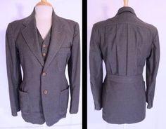Vintage-Early-1930s-Mens-3-Piece-Suit-Belt-Pleat-Back-NRA-Label-2-pairs-Pants