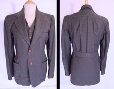 Vintage-Early-1930s-Mens-3-Piece-Suit-Belt-Pleat-Back-NRA-Label-2-pairs-Pants