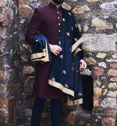 Burgundy Wine Handwoven Silk Sherwani with Zardozi Motif Dupatta. Quintessential JM Groom. Mens Indian Wear, Indian Groom Wear, Indian Men Fashion, Indian Suits, Sherwani For Men Wedding, Mens Sherwani, Asian Wedding Dress, Wedding Dress Men, Wedding Groom