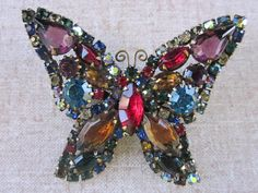 Vintage Weiss Multi Colored Rhinestone Butterfly by boivin628