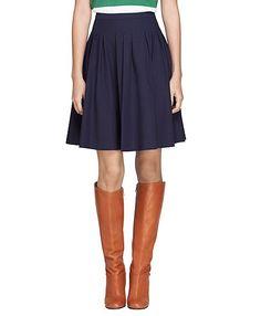 Brooks Brothers-Cotton Navy Pleated Skirt