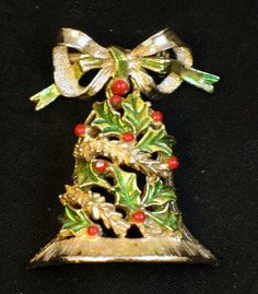 Signed Gerry's Dangling Christmas Bell Brooch
