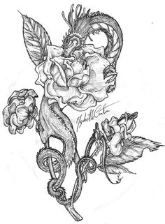 Dayaaamn~!! another oldie. drawn in 2004 with black ball point pen as usual. I'm proud of the rose, I adore how it came out...the mini dragon, nnnnot so much there's a lot wrong with the ...