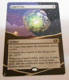 MTG Altered Painted Caged Sun Commander 2014 #WizardsoftheCoast