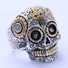 Sterling Silver Sugar Skull Ring for Men Women - Santa Muerte - Day of the dead Gothic Biker Ring Vintage Mexican Skull Ring Sterling Silver Mens Silver Jewelry, Mens Silver Rings, Silver Man, Mens Jewellery, Sterling Silver Cross, Sterling Silver Jewelry, Hammered Silver, 925 Silver, Crane