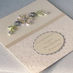 25th anniversary card, congratulations, paper quilling £6.50