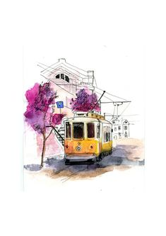 Tram on Behance Architecture Drawing Plan, Street Painting, Photo Transfer, Bike Art, Urban Sketching, Sharpie, Watercolor Art, Wall Decor, Landscape