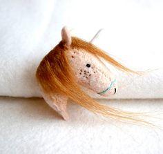 Ginger unicorn - felt unicorn brooch pin by royalmint Felt Brooch, Brooch Pin, Pretty Red Hair, Redhead Art, Needle Felting, Hand Stitching, Wool Felt, Badge, Etsy Shop