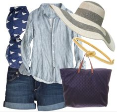 casual look with floppy hat