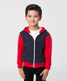 Navy & Red Color Block Flex Fleece Zip-Up Hoodie - Toddler & Kids #zulily #zulilyfinds
