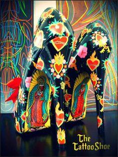 Virgin De Guadalupe Custom Heels by The Tattoo Shoe
