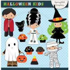 Instant Download Halloween Kids Digital Clip Art for Card Making, Web Design, Scrapbooking - Personal and Commercial Use