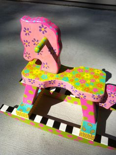Hand Painted Children's Furniture. Lilly's Wooden Rocking Horse.