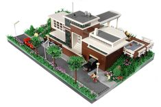 Huis Ter Dijk, inspired by Dutch Architects like Willem Dudok.  LEGO Model by Niek Geurts.