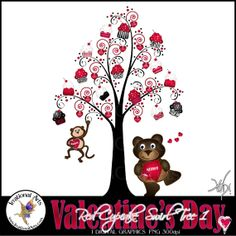 Valentine's Day RED Cupcake Swirl Tree 1 a by IrrationalArts, $1.95