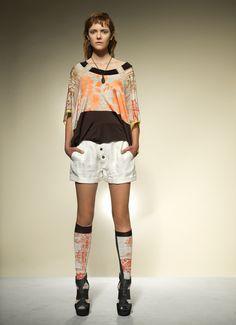Music Stripe Silk Jersey Top/ Herringbone Linen Shorts
