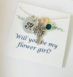 Flower Girl Necklace Flower Girl Gift Will you be my flower girl Flower Girl Jewelry Personalized Flower Girl Necklace