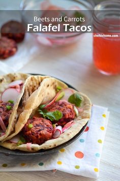 Spring is showing it's color every where around us. Today, I have tried to capture few of the colors in my healthy and vegan, Beets and Carrot Falafel Tacos. Served over wheat tortillas with sweetn...