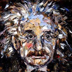 Albert Einstein portrait painting art by Debra Hurd, painting by artist Debra Hurd