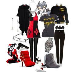 """""""Casual Cosplay- Batman & Harley Quinn"""" by emeraldirisheyes on Polyvore"""