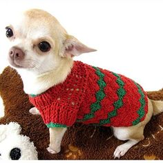 Red Green Christmas Dog Sweater Warm Cotton Puppy Clothes Pet Clothing Handmade Crochet Chihuahua Apparel Cute Dk875 Myknitt - Free Shipping >>> To view further, visit now : Dog sweaters