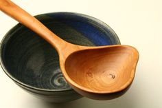 wooden serving spoon hand carved from Cherry by KitchenCarvings, $29.00