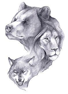 Lion Bear & Wolf Head Tattoo