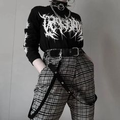 Discover all of our techwear/streetwear products and more on our site! Punk Outfits, Gothic Outfits, Grunge Outfits, Cute Casual Outfits, Casual Goth, Indie Outfits, Aesthetic Grunge Outfit, Aesthetic Clothes, Alternative Outfits