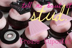 Grease Cupcakes Pink Ladies and T-birds; http://themisscupcake.com/?p=1692