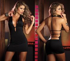 Espiral Lingerie Espiral 4108 Black Clubwear Dress Sexy black mini dress with fitted design, around the neck strap with pointed collar with glossy overlay, V-neckline with thin strap which keeps it in place for added sass and effortless wear and mini  http://www.MightGet.com/january-2017-12/espiral-lingerie-espiral-4108-black-clubwear-dress.asp