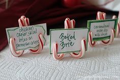Use mini candy canes for your Christmas party food labels Christmas,Crafts,Holiday decorating,Holidays, Christmas Party Food, Christmas Hacks, Noel Christmas, Winter Christmas, Holiday Parties, Holiday Fun, Christmas Crafts, Festive, Holiday Ideas