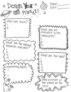 Create your own planet activity Allows students to creatively explore communities by establishing a population, Jobs, Natural Resources, Laws, and additional facts regarding their country before further engaging students by allowing them to illustrate this planet they have established.