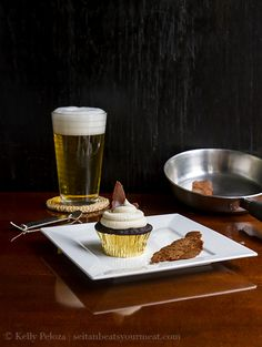 Vegan Maple Bacon PBR Cupcakes from the Seitan Beats Your Meat blog