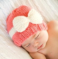 Adapt for crochet: Ribbons and Bows Beanie - Knitting PATTERN - pdf format for newborn, infant, toddler, child, teen and adult Loom Knitting, Baby Knitting Patterns, Crochet Patterns, My Baby Girl, Baby Love, Baby Girls, Knitting Projects, Crochet Projects, Knit Crochet